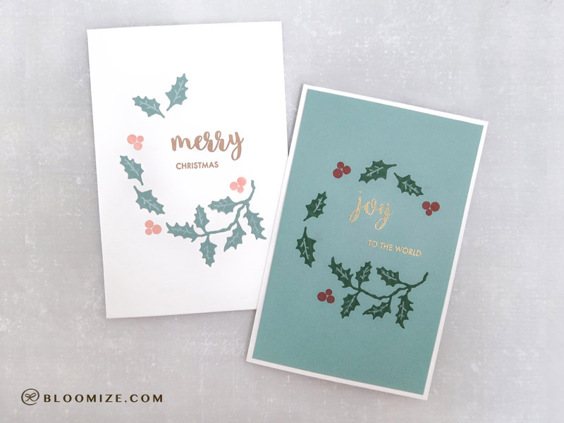 Die cut inlay teal Christmas cards ⇆ bloomize
