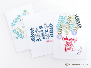 3 more  floral variations + some hand lettering