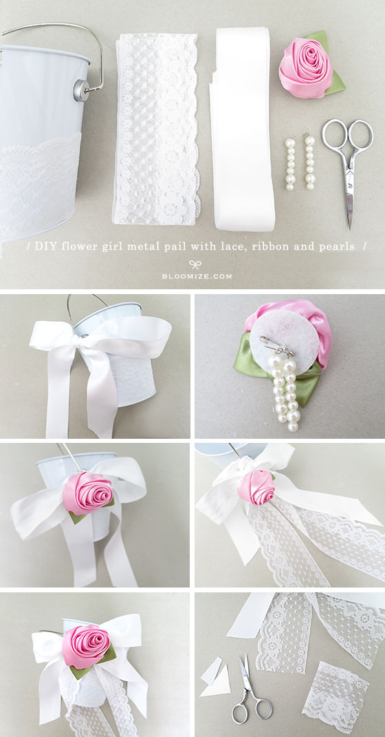 DIY Flower Girl Pail With Lace Lining Bloomize