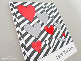 magnetic card hearts die cut inlay