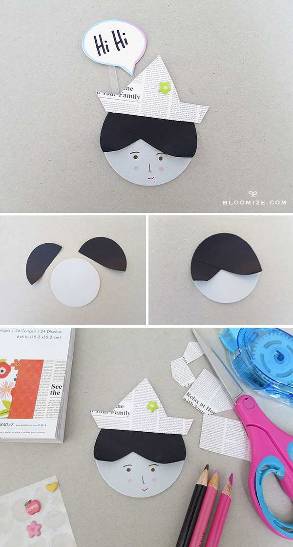 ceaf1b7d273e0 DIY paper doll faces with circles + upright speech bubbles ⇆ bloomize