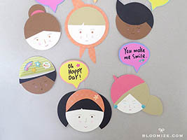 8e74a0a42e126 DIY paper doll faces with circles + upright speech bubbles