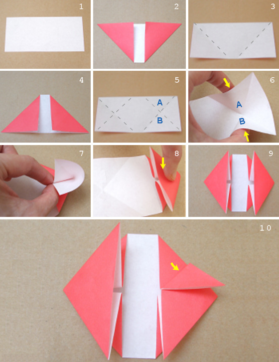 Origami heart box with lid instructions and diagram | 726x560