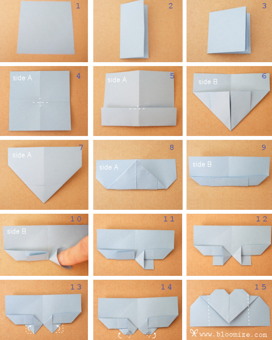 Origami Blaetter , Fold A Heart Page Marker ⇆ Bloomize