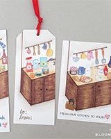 sticker scene building gift tag, card and bookmark