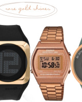 rose gold digital watch etc