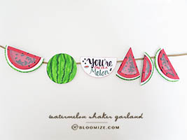 Watermelon shaker fun fact card and garland